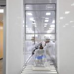 Pass-thru window allows smaller pre-cleaned parts to enter and packaged parts to exit the Cleanroom