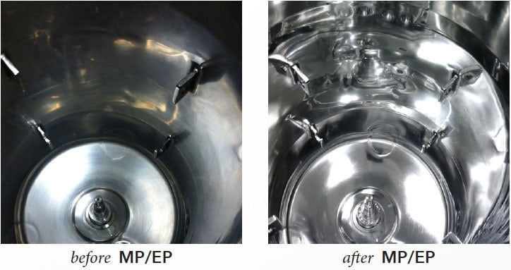 Astro Pak before and after Mechanical Polishing and Electropolishing